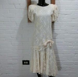 Vtg Lace Barbara Chodos Flapper Dress